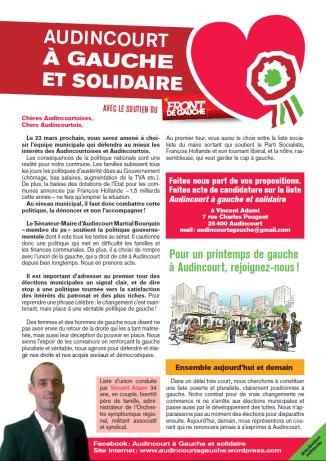 Le premier tract est prêt ! l'équipe est en marche ! rejoignez nous pour compléter la liste, faites acte de candidature contre les politiques d'austérités mises en place par le gouvernement et traduites au niveau local !